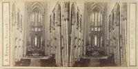 Germania Colonia Interno Chiesa Dôme Foto A. Braun, Stereo Albumina Ca 1865