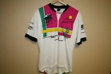 Tour de North country vtg neon Cycling Jersey Mens Large 1/4 Zip Neck Biking