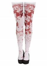 Halloween Fancy Dress Bloody Stockings Hold Ups White Adult Female One Size NEW