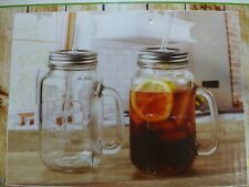 Set of 2 Mason Jar Glass Drinking Glasses with Handle Lid and Straw New 24 oz