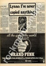 Grand Funk All The Girls In The World Beware MM5 show Advert ELO interview 1975