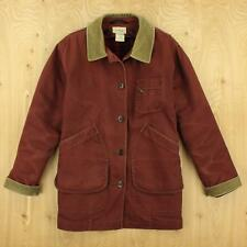 LL BEAN womens wool lined canvas barn chore coat jacket SMALL red faded vtg