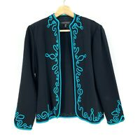 Ming Wang Womens Open Jacket Cardigan Sweater Size PM Black Embroidered M2