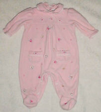 Baby-Girls-Pink Minky Velvet Velour Ebroidered Flower Sleeper-Outfit-0-3 mo