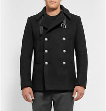 Balmain Black Wool-Blend Peacoat with leather belt   SZ. 52 / L