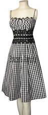 KAREN MILLEN BLACK & WHITE GINGHAM LACE CORSET DRESS 6  EUC35