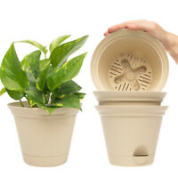 "4pk Misco 6.8"" Plant Spa Flared Self Watering Planters Indoor Outdoor Flower Pot"
