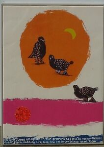 Diana Cheng color lithograph collage signed birds and sun dated 2012 art