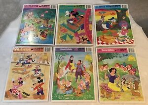 NEW 1980's- Golden Frame Tray Puzzles Disney Mickey & Minnie -D.Duck-Snow White-