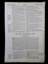 1597 GENEVA BIBLE LEAF * THE BOOK OFJUDGES TITLE PAGE * TWO WOODCUT INITIALS  VG