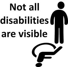 Not All Disabilities Are Visible Disabled Vinyl Decal Sticker for Car