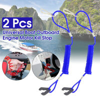 2X Boat Outboard Engine Motor Lanyard Kill Stop Switch Safety Tether Fo */!