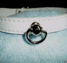"Genuine Leather Collar, 1/2"" White, Post & D Ring, Hand crafted Gothic, Punk"