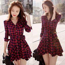 Women Korean Plaid Lapel V Neck Long Sleeve Pleated Cotton Mini Dress Apparel UK