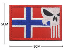 Norwegian flag skull Patches Army Badge Embroidery Hook & Loop Patch