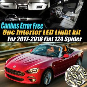 8Pc CANBUS Error Free White Interior LED Light Kit for 2017-2018 Fiat 124 Spider
