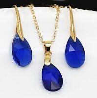 Parure plaqué or, cristal goutte bleu, pendentif boucles d'oreilles joaillerie N