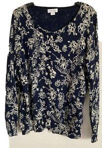 Monsoon Size 18 Blue Floral Cardigan -(C59)