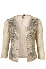 Topshop Iconic Cream Vtg 20s Flapper Lace Sequin Bead Cardigan Shrug Jacket 10 6