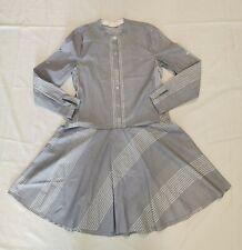 Pure DKNY Light Blue Striped Shirt Dress Stretch Roll Sleeve Sz Small