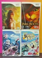 Nintendo Wii Wii U Game Lot Puss in Boots, Spongebob Boating Bash, Narnia, UP