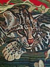 Tapestry Leopard Jaguar Cat Fringe Pillow Red Jungle Fern Square Used  {No. 330