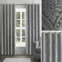 Grey Eyelet Curtains Damask Jacquard Ready Made Lined Ring Top Curtain Pairs