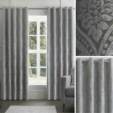 Grey Eyelet Curtains Damask Jacquard Ready Made Lined Ring Top Curtain Pairs