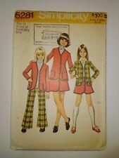 Simplicity 5281 Size 14 Girls Cardigan Jacket Skirt Bell-Bottom Pants
