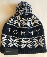 0df4fc98aec59 NWT Mens Tommy Hilfiger Logo Pom Pom Snowflake Beanie Ski Hat Cap Navy White