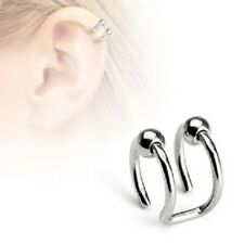 DOUBLE Hoop BEAD Rings Fake NON Piercing CARTILAGE EAR CUFFS Wraps Clip on JEWEL