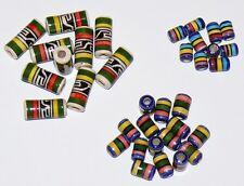 35 Keramik Perlen Mix Nr.5/ 6+16 mm bunt Zylinder Indianer Inka Schmuck Peru