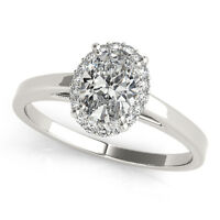 1.15 CT FOREVER ONE GHI MOISSANITE OVAL PAVE HALO ENGAGEMENT RING