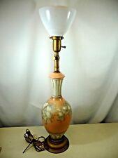 "Charleton Milk Glass Hand Painted Peach Vase Table Lamp 33"" Tall"