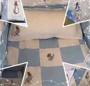 Peter Rabbit plain blue. Cot Bed set, nappy stacker,cushion,Fleece Blanket