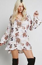 FREE PEOPLE Heart Beat Printed Tunic Dress Blush Floral  V-Neck Bell Sleeves XS