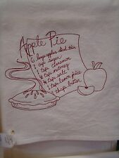 ~ Set of 2 Apple Pie Recipe Embroidered Floursack Kitchen Towels