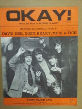 song sheet OKAY Dave Dee, Dozy, Beaky, Mich & Tich 1967