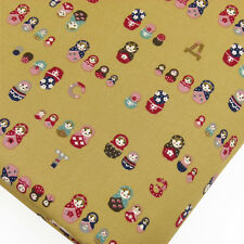 100% Cotton Printed Fabric FQ Retro Russian Doll Floral Polka Dot Spot VK4 Brown
