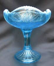 Antique Blue Opalescent Glass Northwood Wild Bouquet Jelly Compote