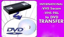 TRANSFER VIDEO TAPE TO DVD * VHS HI8 PAL SECAM EUROPEAN AFRICAN CONVERT TO DVD