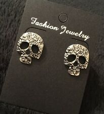 Sugar Skull Day of the Dead Tattoo Stud Earrings Kitsch Rockabilly Psychobilly