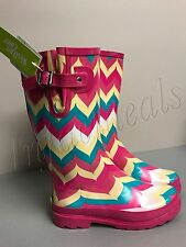 Womne's Rain Boots New Western chief Chevron multicolor teal yellow pink Size 6
