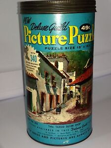 Vintage Deluxe Guild Puzzle in Can Taxco Silver Shop 340 Pieces *missing 6*