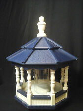 Poly Bird Feeder Amish Gazebo Handcrafted Homemade Ivory & Blue Roof Md