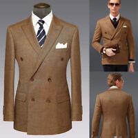 Brown Formal Men Suits Tweed Double Breasted Wedding Groom Tuxedos Blazer Pants