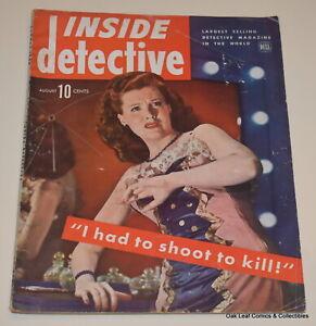 1944 INSIDE DETECTIVE Magazine August VG+ True Crime Mystery