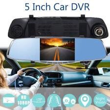"5"" 1080P HD Dual Lens Car Dvr Rearview Mirror Dash Cam Night Vision Recorder"