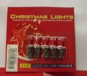 5 Push In Spare Bulbs 13V 1.23W 0.095A LIGHT RED (S23)