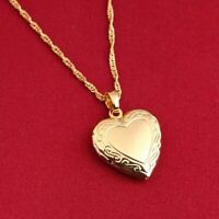 "24K Gold Plated Small Heart Locket Pendant Necklace Photo Picture 18"" N7"